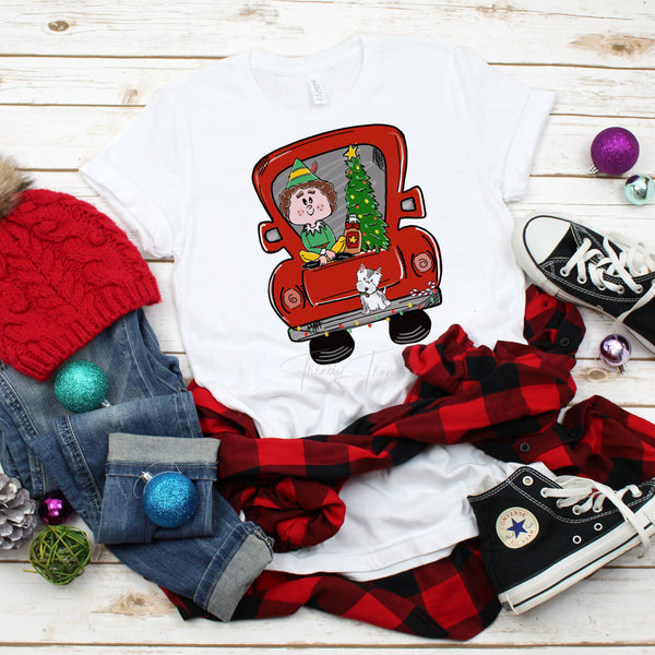 Red Vintage Truck Elf with Dog Christmas Sublimation Transfer