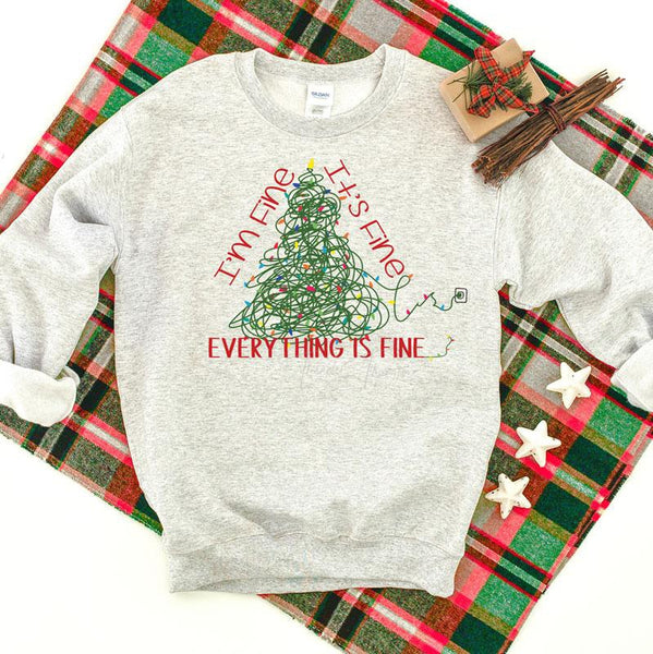 I'm Fine It's Fine Everything Is Fine Christmas  SHIPS 11/3 Screen Print Heat Transfer