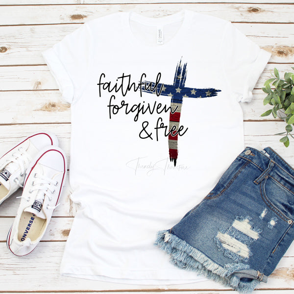Faithful Forgiven and Free Flag Cross Patriotic Sublimation Transfer