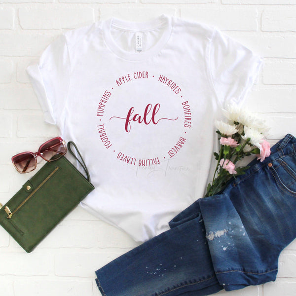 Fall Text circle Sublimation Transfer