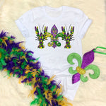 Paint splatter Fleur de lis crawdads Mardi Gras Sublimation Transfer