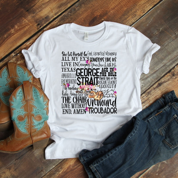 George Strait Word Art Sublimation Transfer