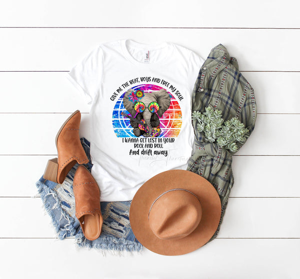 Colorful Elephant with guitar hippie Give Me The Beat Boys Sublimation Transfer
