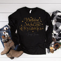 Believe In the Magic Of Christmas Gold Metallic Screen Print Heat Transfer