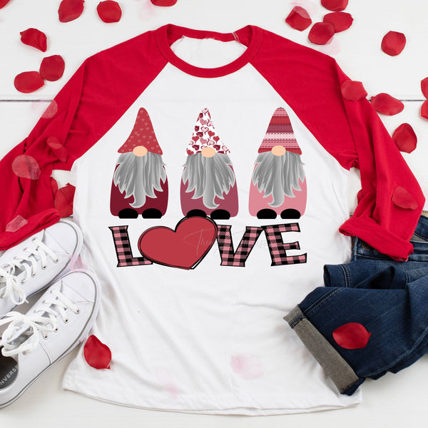 Pink Plaid LOVE Gnomes Valentine Sublimation Transfer