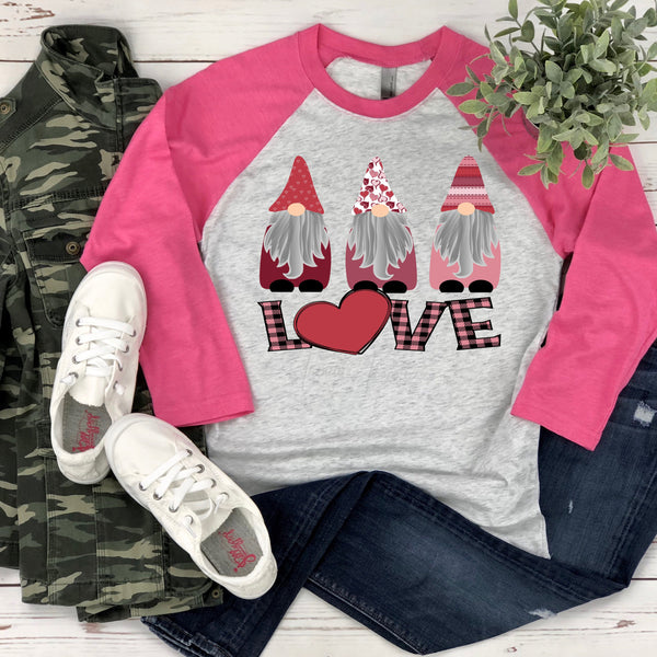 Valentine Love Gnomes ADULT Screen Print Heat Transfer