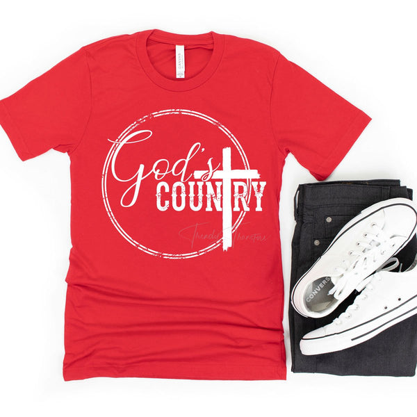 God's Country White Screen Print Heat Transfer