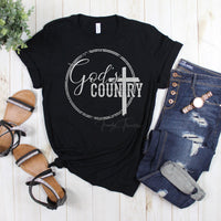 God's Country Metallic Silver Glitter Screen Print Heat Transfer