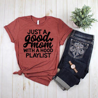 Good Mom with a Hood Playlist Screen Print Heat Transfer