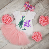 Hear Me Roar Dinosaur Girl Princess Sublimation Transfer