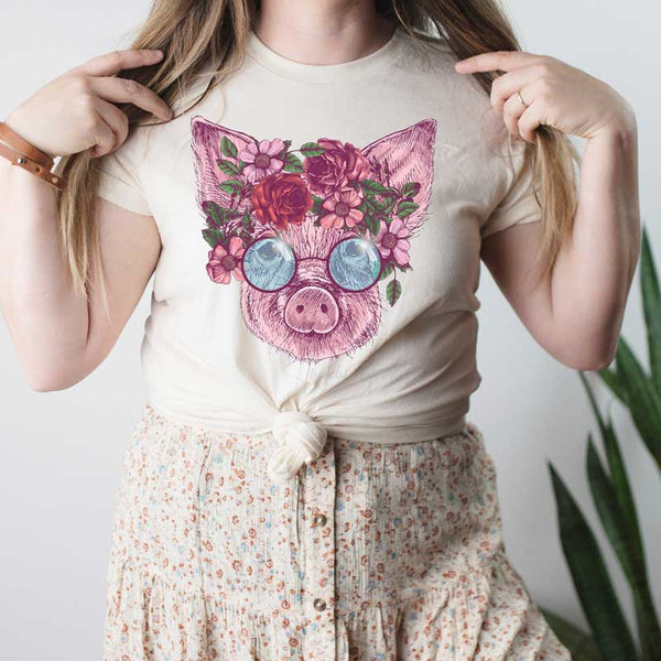 Hippie Pig Screen Print Heat Transfer