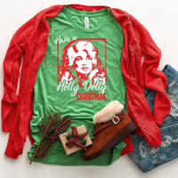 Have a Holly Dolly Christmas YOUTH Screen Print Heat Transfer