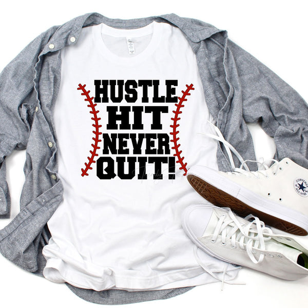 Hustle Hit Never Quit Baseball Sublimation Transfer