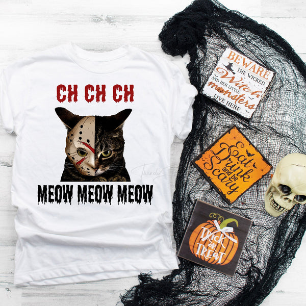 Jason mask ch ch ch meow cat horror Sublimation Transfer