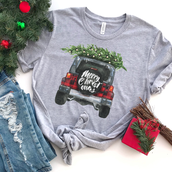 Merry Christmas Jeep Screen Print Heat Transfer