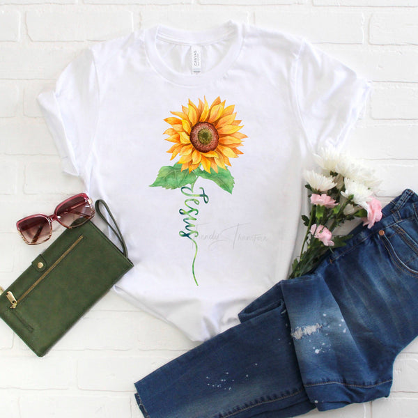 Jesus Watercolor Sunflower Sublimation Transfer