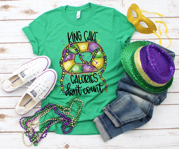 Mardi Gras King Cake Calories Don't Count  Screen Print Heat Transfer