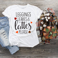 Leggings Leaves and Lattes Please Sublimation Transfer