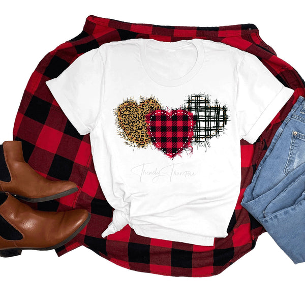 Black and white plaid Leopard buffalo Plaid patchwork hearts valentine Sublimation Transfer