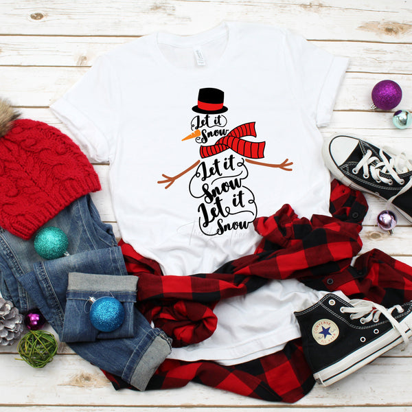 Let It Snow Snowman word art Christmas Sublimation Transfer