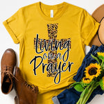 Living On A Prayer Leopard Cross Screen Print Heat Transfer