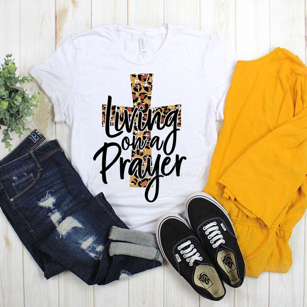 Living On A Prayer With Leopard Cross Sublimation Transfer
