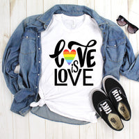 Love is Love Rainbow Heart Pride Text Sublimation Transfer