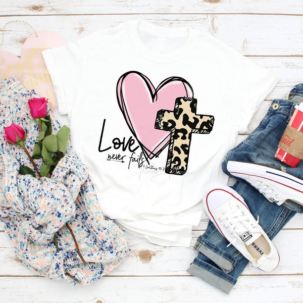 Love never fails Leopard Cross heart Corinthians Sublimation Transfer