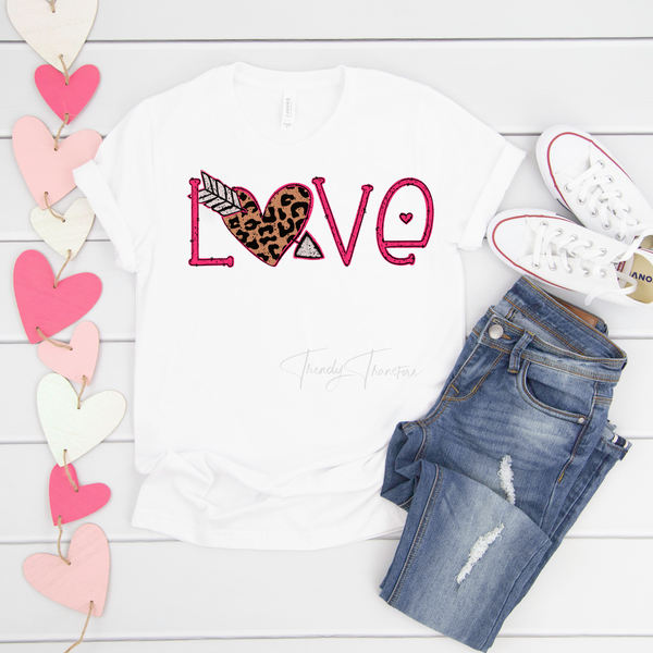 Love leopard print word art Valentine Sublimation Transfer