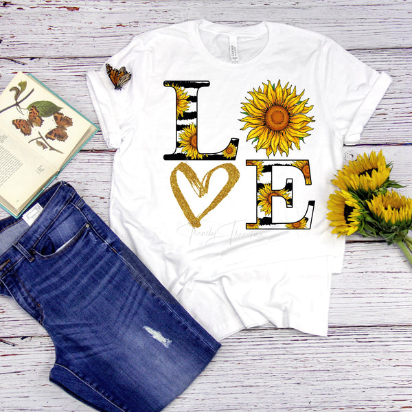 Sunflower Love word art Sublimation Transfer
