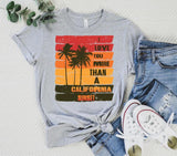 I Love You More Than a California Sunset Screen Print Heat Transfer