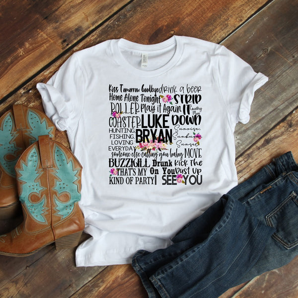 Luke Bryan Word Art Sublimation Transfer