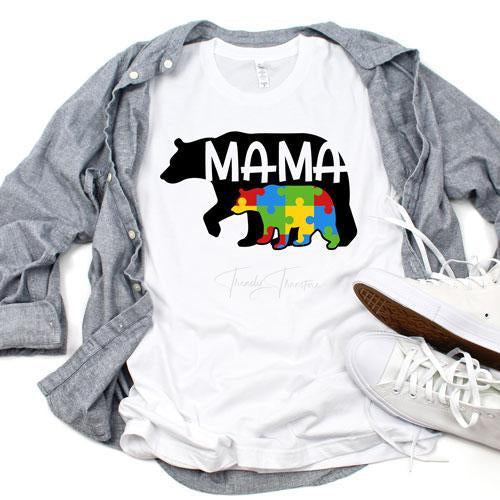 Autism Awareness Mama Bear Sublimation Transfer