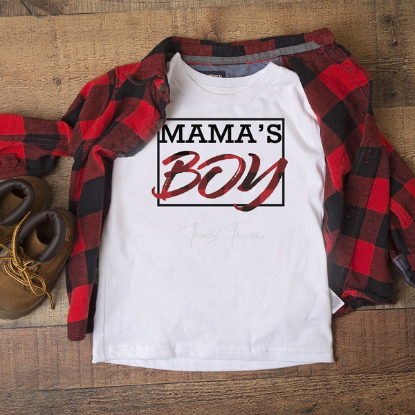 Mamas Boy Buffalo Plaid Screen Print Heat Transfer