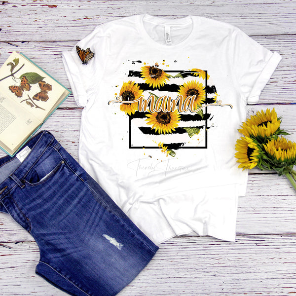 Sunflower Heart Mama Sublimation Transfer