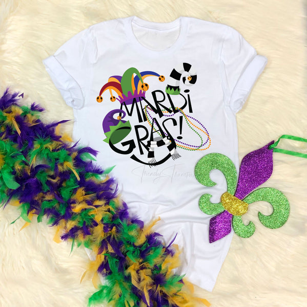 Jester Hat Black and White Mardi Gras Sublimation Transfer