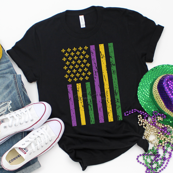 Mardi Gras Flag Screen Print Heat Transfer