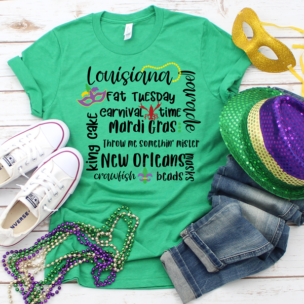 Mardi Gras Word Art Screen Print Heat Transfer