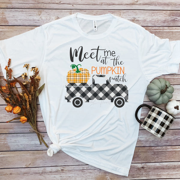 Plaid Meet me at the pumpkin patch truck Sublimation Transfer