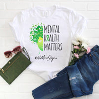Green Ribbon Mental Health Awareness Butterfly Sublimation Transfer