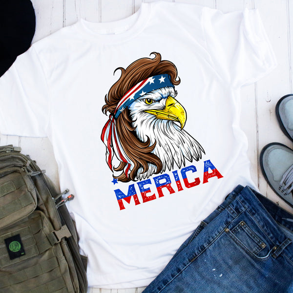 Patriotic Eagle 'merica USA Red White and Blue Flag Sublimation Transfer