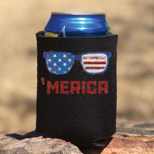 'Merica Sunglasses Can Hugger Screen Print Heat Transfer