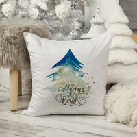 Merry and bright blue christmas tree gold glitter effect Sublimation Transfer