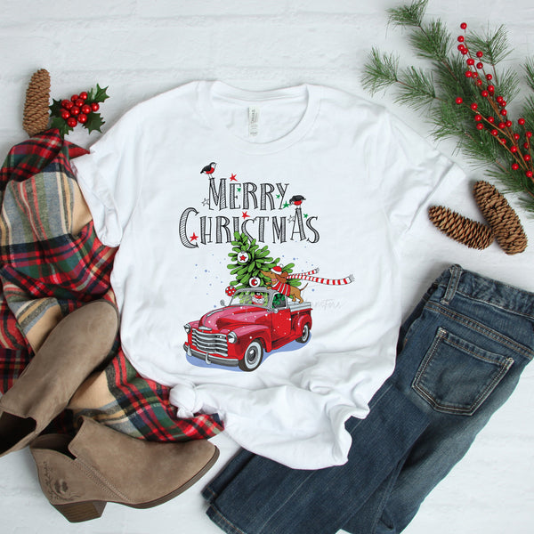 Merry Christmas Daschund Truck Christmas Tree Sublimation Transfer