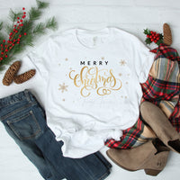 Merry Christmas Gold Snowflakes Word Art Sublimation Transfer