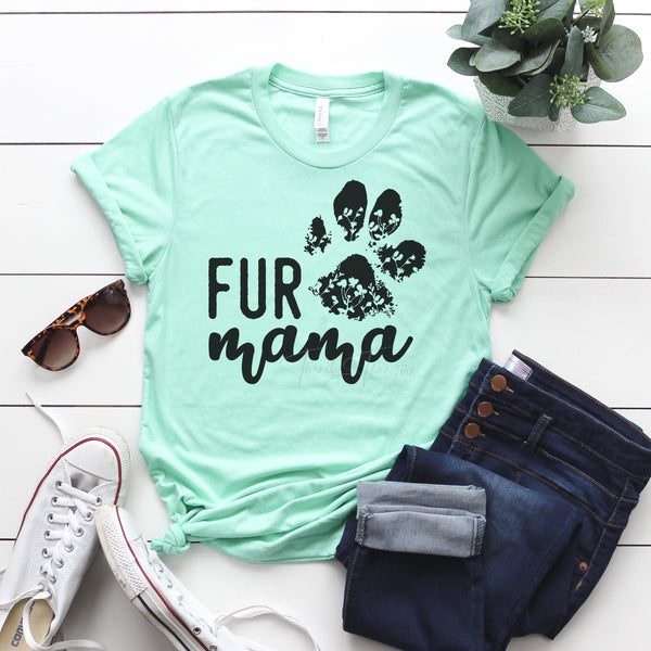 Fur MaMa Black SHIPS 8/14 Screen Print Heat Transfer