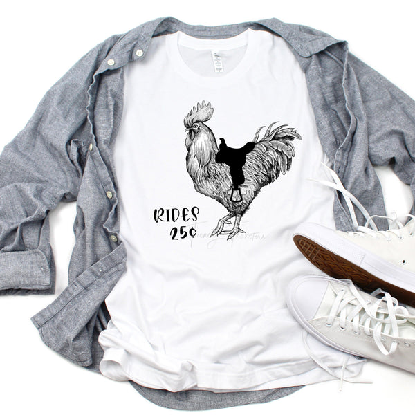 Rooster Rides Sublimation Transfer