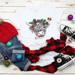 Christmas Shaggy Cow Wreath Sublimation Transfer
