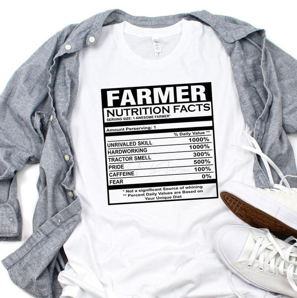 Farmer Nutrition Facts Sublimation Transfer