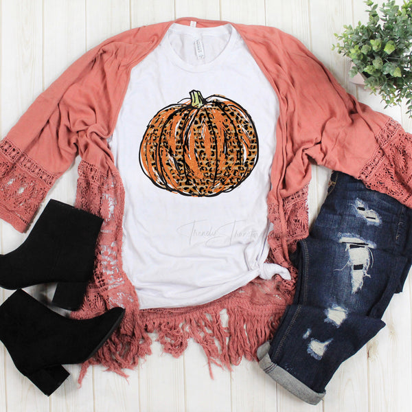 Orange Glitter Leopard Pumpkin Sublimation Transfer